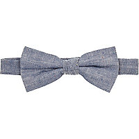 Light blue denim neppy bow tie