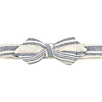 Blue and cream stripe bow tie