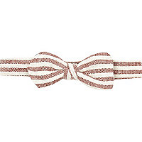 Red and cream stripe bow tie