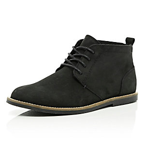 Black nubuck lace up desert boots
