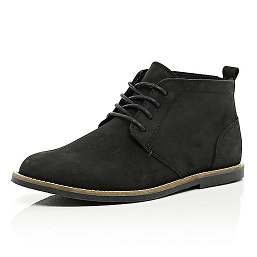 Black lace up desert boots