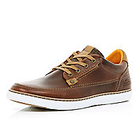 Brown leather lace up trainers