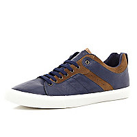 Navy contrast trim lace up trainers