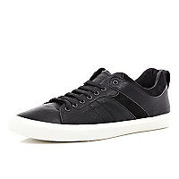 Black contrast trim lace up trainers