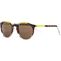 Yellow colour block round sunglasses