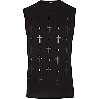 Black skull studded cross print tank top