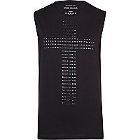 Black studded cross vest