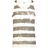 Ecru washed stripe vest