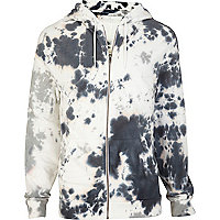 Grey tie dye zip through hoodie