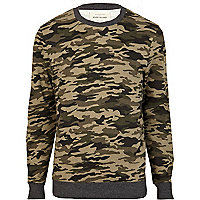 Green camo print crew neck sweatshirt