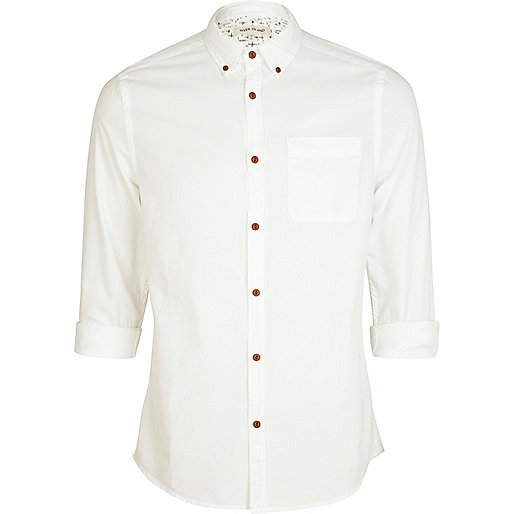 White roll sleeve Oxford shirt