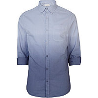 Blue dip dye roll sleeve Oxford shirt