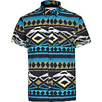 Blue aztec print short sleeve shirt