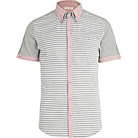 Grey stripe colour block double collar shirt
