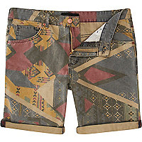 Brown aztec print turn up denim shorts