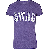 Purple swag print short sleeve t-shirt
