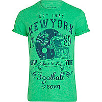 Green American football print t-shirt