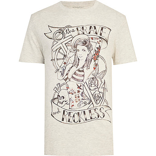 Ecru Reckless tattoo print t-shirt