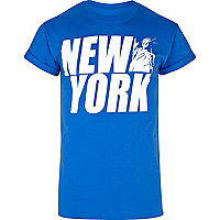 Blue New York statue print t-shirt