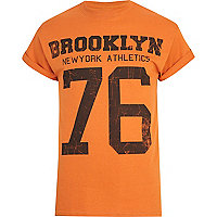 Orange Brooklyn Athletic print t-shirt