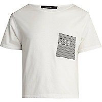 White Sparks textured pocket t-shirt