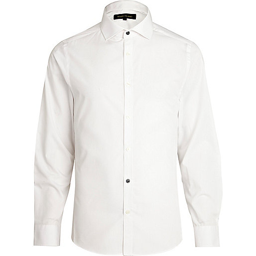 White accent button long sleeve poplin shirt