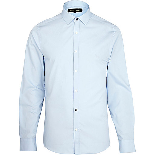Blue accent button long sleeve poplin shirt