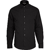 Black accent button long sleeve poplin shirt