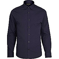 Navy accent button long sleeve poplin shirt