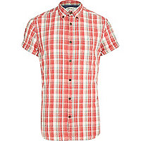 Red acid wash check short sleeve shirt