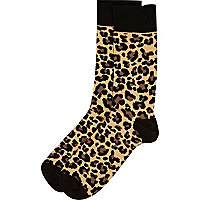 Brown leopard print socks