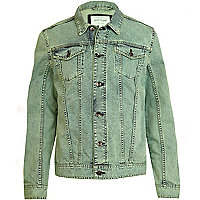 Green wash denim jacket