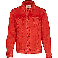 Bright red denim jacket