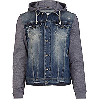 Mid wash jersey sleeve denim jacket