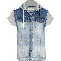 Mid wash jersey hood denim gilet