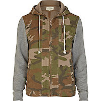 Green camo print jersey sleeve jacket