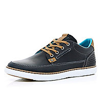 Navy leather lace up trainers