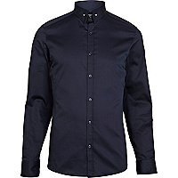 Navy pin collar long sleeve shirt