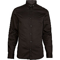 Black pin collar long sleeve shirt
