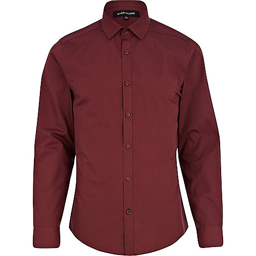 Dark red poplin shirt