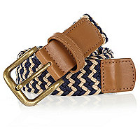 Navy and ecru woven belt