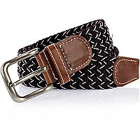 Black and brown woven belt