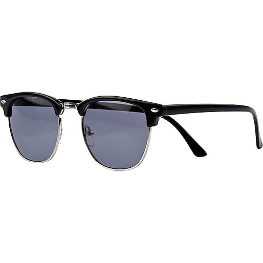 Black half frame retro sunglasses