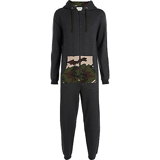 Grey camo colour pocket onesie