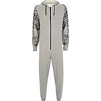 Grey tattoo sleeve print onesie