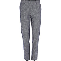Blue cross hatch smart skinny trousers
