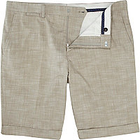 Stone smart turn up shorts