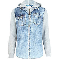 Acid wash 2 in 1 denim gilet hoodie