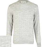 Light grey lightweight cable knit jumper