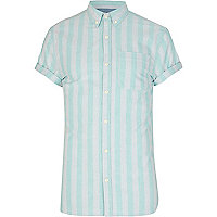 Mint green and grey striped shirt